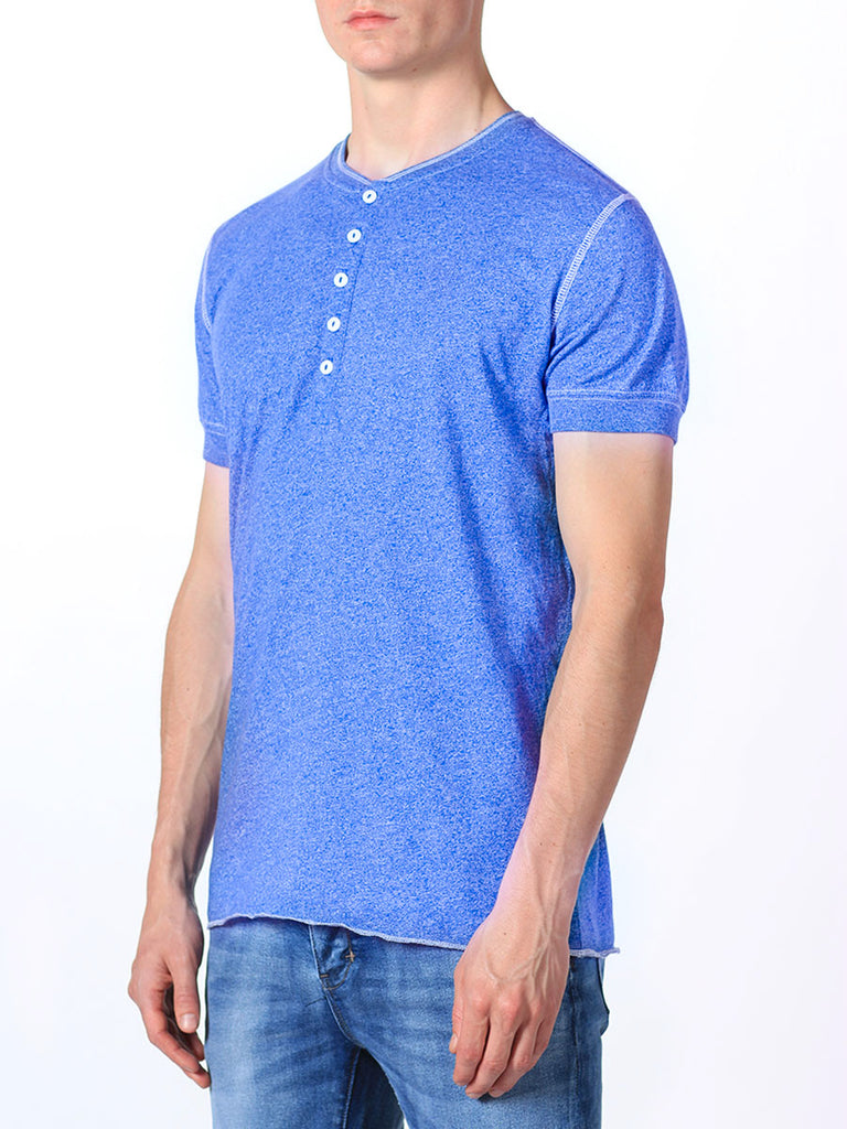 WORKSHOP SHORT-SLEEVE HENLEY IN INDIGO  - 2