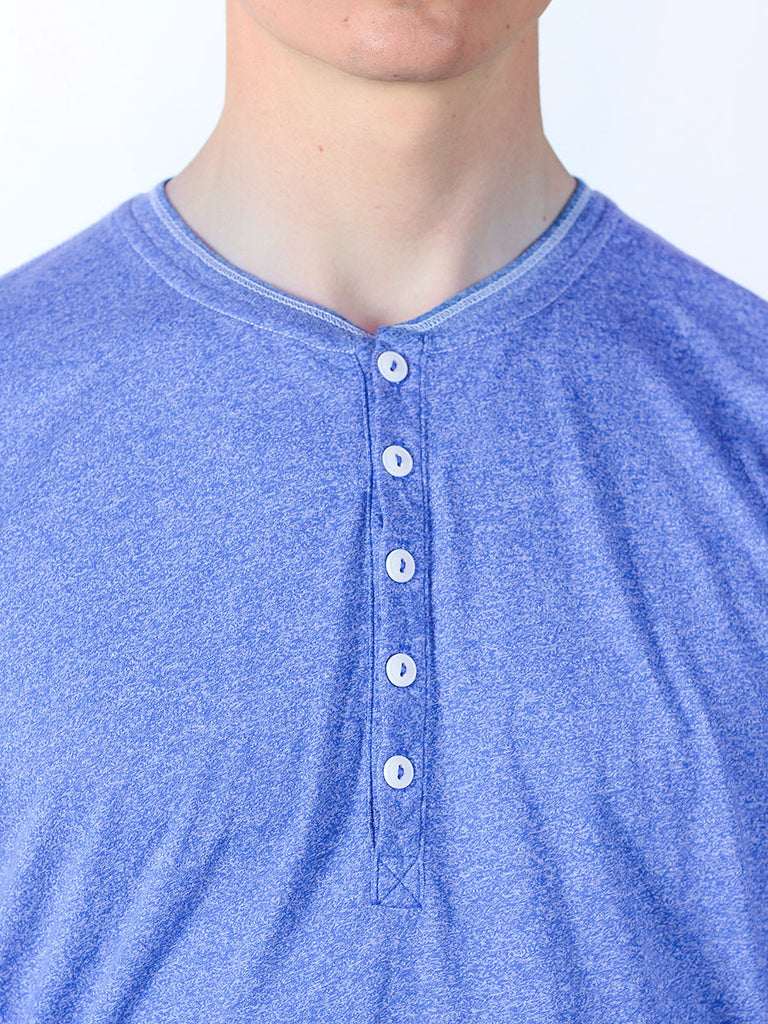 WORKSHOP SHORT-SLEEVE HENLEY IN INDIGO  - 4