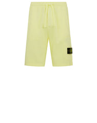 STONE ISLAND FLEECE BERMUDA CARGO SHORTS IN LEMON
