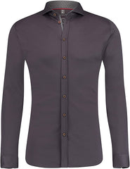 DESOTO LONG-SLEEVE SHIRT WITH SHARK COLLAR IN TAUPE GREY