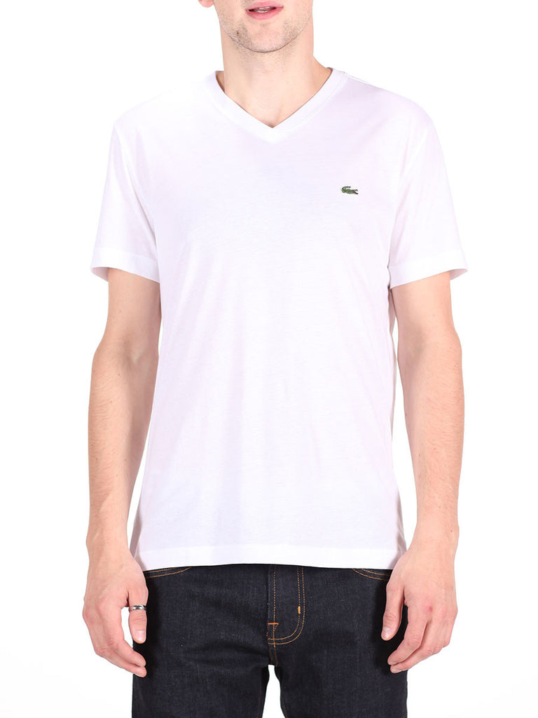 LACOSTE LOGO V-NECK T-SHIRT IN WHITE