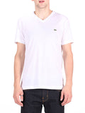 LACOSTE LOGO V-NECK T-SHIRT IN WHITE  - 1
