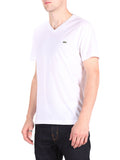 LACOSTE LOGO V-NECK T-SHIRT IN WHITE  - 2