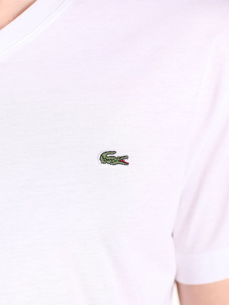 LACOSTE LOGO V-NECK T-SHIRT IN WHITE  - 4