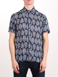 WORKSHOP RAYON SHORT SLEEVE SHIRT IN BLUE LEAF PRINT  - 1