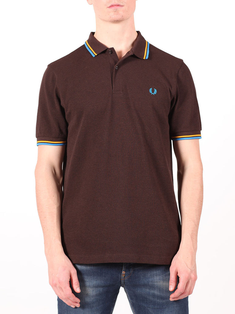 FRED PERRY SLIM FIT TWIN TIPPED SHIRT IN DARK CHOCOLATE  - 1