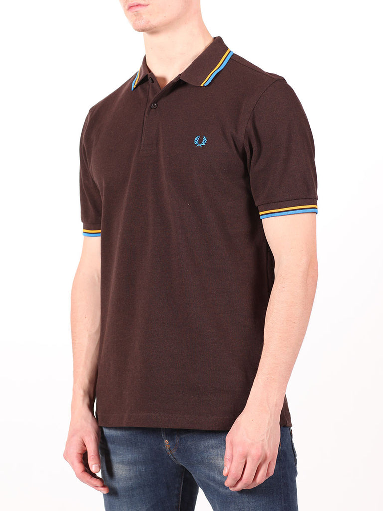 FRED PERRY SLIM FIT TWIN TIPPED SHIRT IN DARK CHOCOLATE  - 2