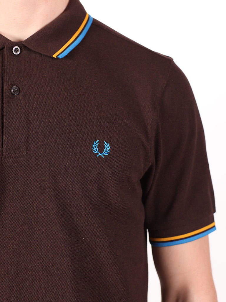 FRED PERRY SLIM FIT TWIN TIPPED SHIRT IN DARK CHOCOLATE  - 4