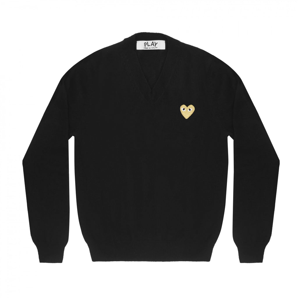 COMME DES GARCONS PLAY V-NECK SWEATER IN BLACK WITH GOLD HEART