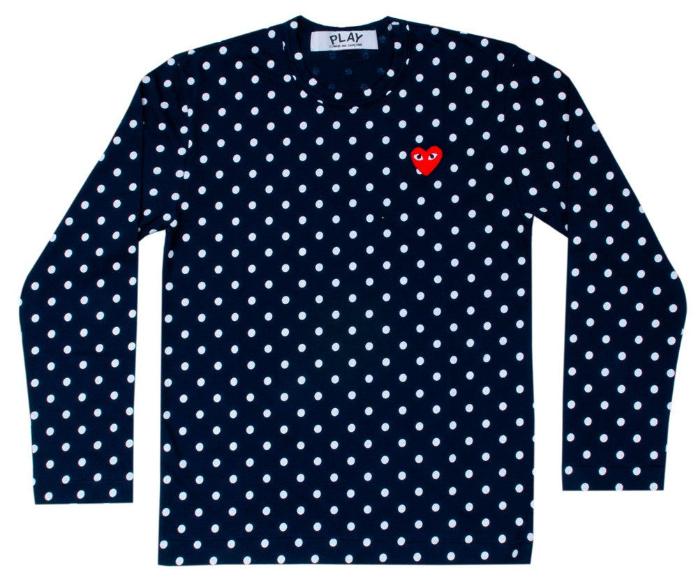 COMME DES GARCONS PLAY LONG-SLEEVE T-SHIRT IN NAVY WITH WHITE DOTS AND RED HEART PATCH
