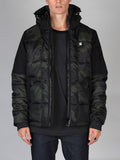 Best Fall Mens Outfits and Urban Style G-Star Whistler Hooded Camo Jacket in Asfalt and Carbon Front Open