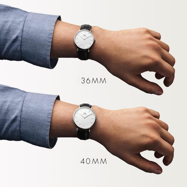 Best Watch Shop BoysCo Watch Store Smart Casual Business Attire for Men Daniel Wellington Classic Reading Watch with Silver On Hand