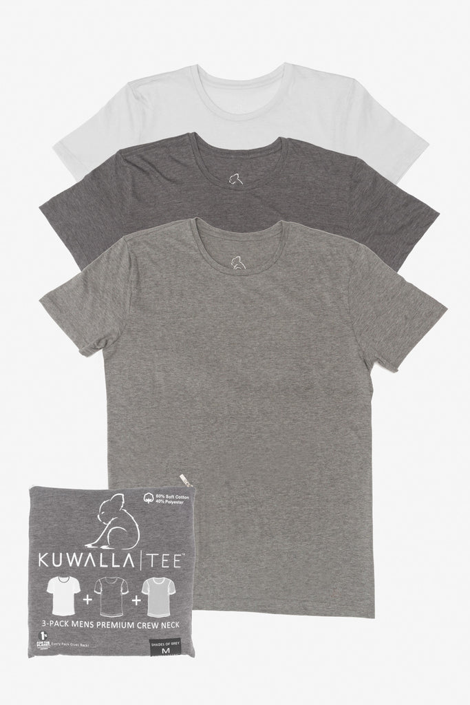 KUWALLA TEE CREW-NECK T-SHIRT 3-PACK IN SHADES OF GREY  - 1