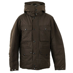 C.P. COMPANY HOODED DOWN JACKET IN BLACK COFFEE