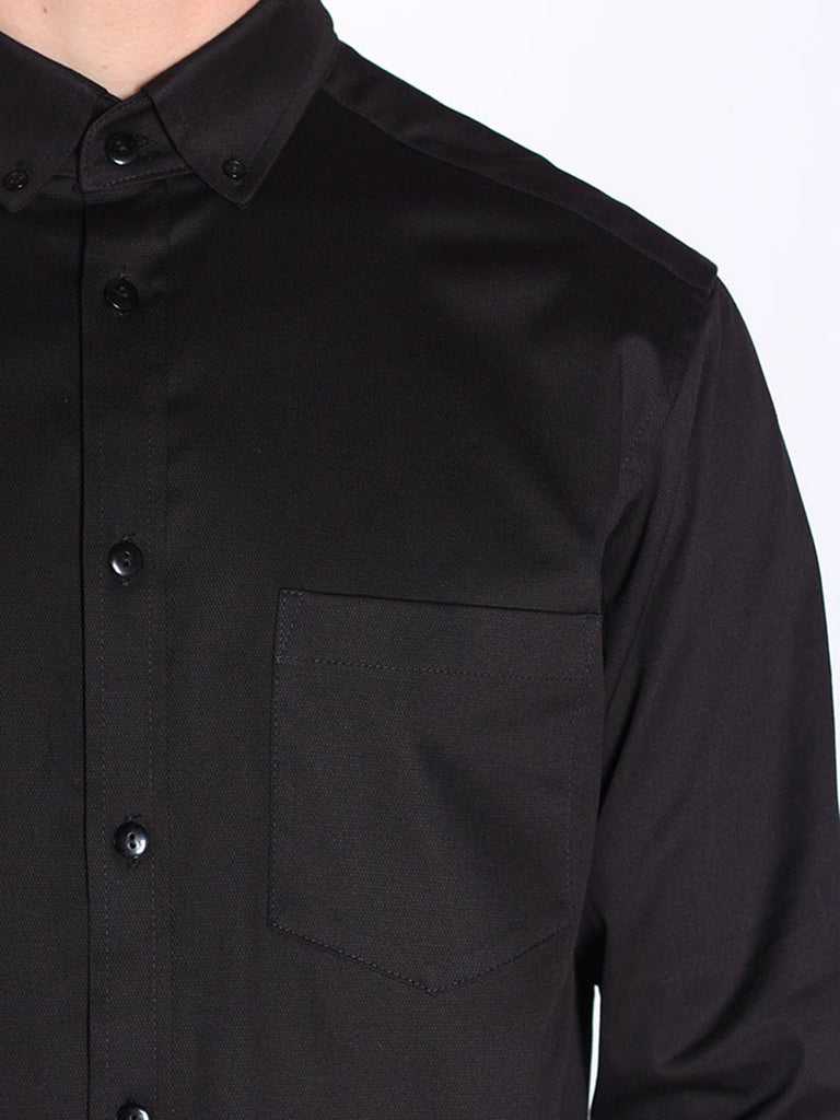 Casual Mens Fashion and West Coast Style Workshop Medium Weight Oxford Button Down Shirt in Black Detail 1