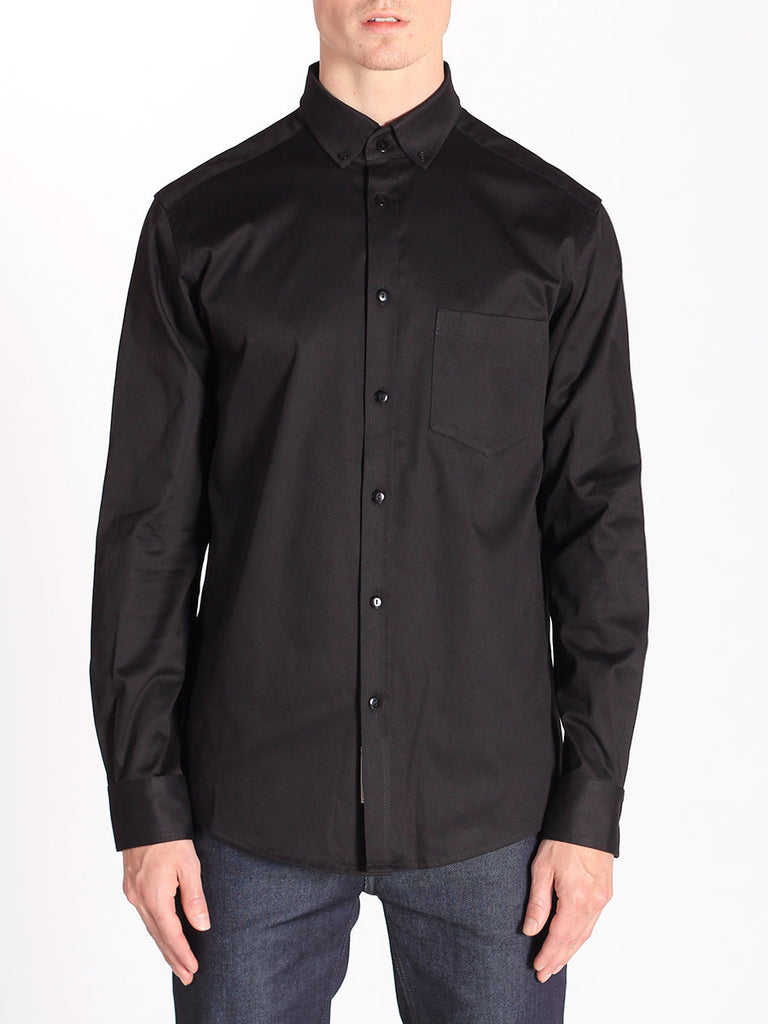 Casual Mens Fashion and West Coast Style Workshop Medium Weight Oxford Button Down Shirt in Black Front