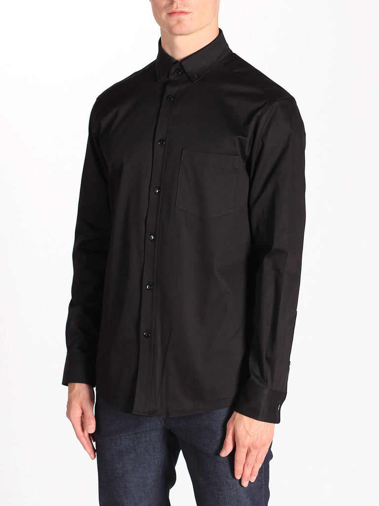 Casual Mens Fashion and West Coast Style Workshop Medium Weight Oxford Button Down Shirt in Black Side