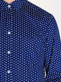 Casual Mens Fashion and West Coast Style Workshop Medium Weight Oxford Button Down Shirt in Navy Heart Print Detail 1