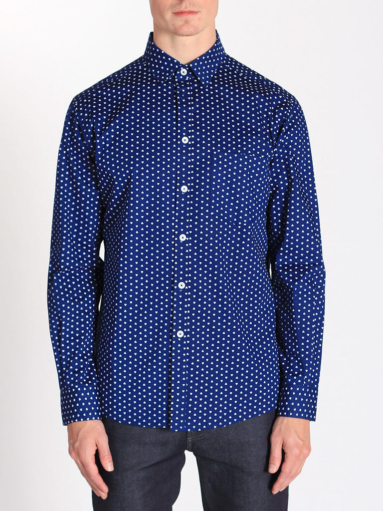 Casual Mens Fashion and West Coast Style Workshop Medium Weight Oxford Button Down Shirt in Navy Heart Print Front