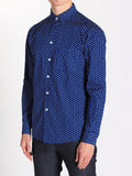 Casual Mens Fashion and West Coast Style Workshop Medium Weight Oxford Button Down Shirt in Navy Heart Print Side