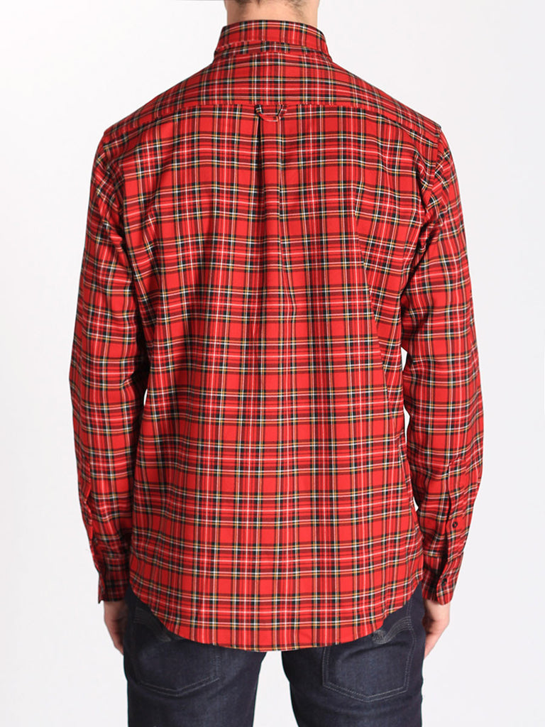 Casual Mens Fashion and West Coast Style Workshop Medium Weight Oxford Button Down Shirt in Red Plaid Back
