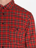 Casual Mens Fashion and West Coast Style Workshop Medium Weight Oxford Button Down Shirt in Red Plaid Detail 1
