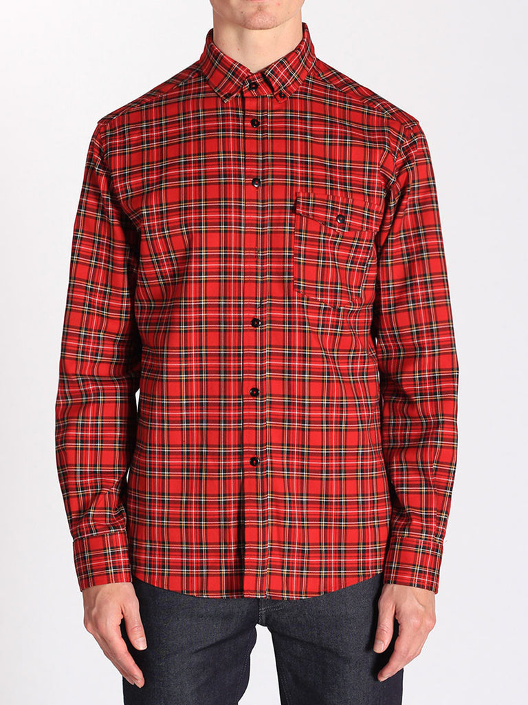 WORKSHOP MEDIUM WEIGHT OXFORD BUTTON DOWN SHIRT IN RED FLANNEL