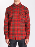 Casual Mens Fashion and West Coast Style Workshop Medium Weight Oxford Button Down Shirt in Red Plaid Front