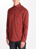 Casual Mens Fashion and West Coast Style Workshop Medium Weight Oxford Button Down Shirt in Red Plaid Side