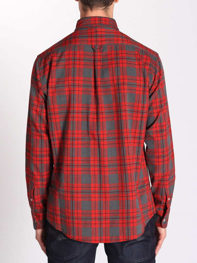Casual Mens Fashion and West Coast Style Workshop Medium Weight Oxford Button Down Shirt in Red and Grey Plaid Back