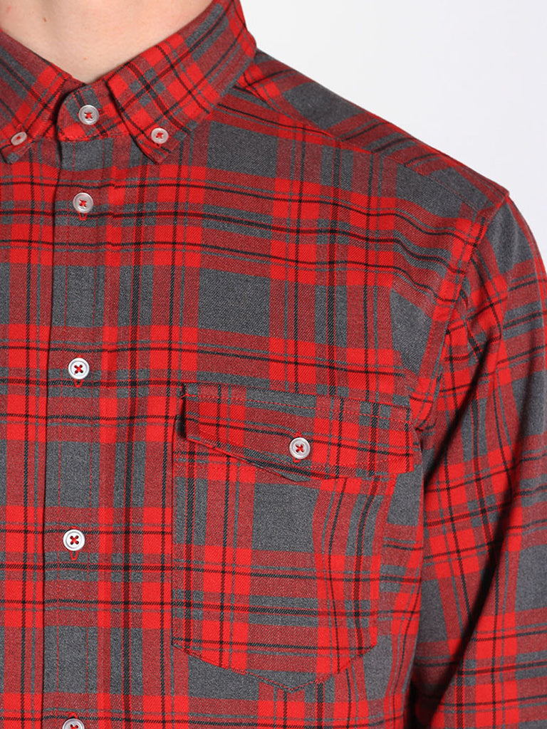Casual Mens Fashion and West Coast Style Workshop Medium Weight Oxford Button Down Shirt in Red and Grey Plaid Detail 2