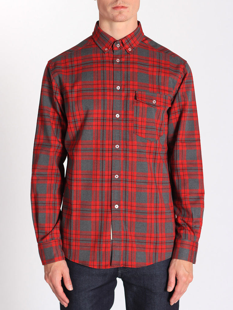 Casual Mens Fashion and West Coast Style Workshop Medium Weight Oxford Button Down Shirt in Red and Grey Plaid Front