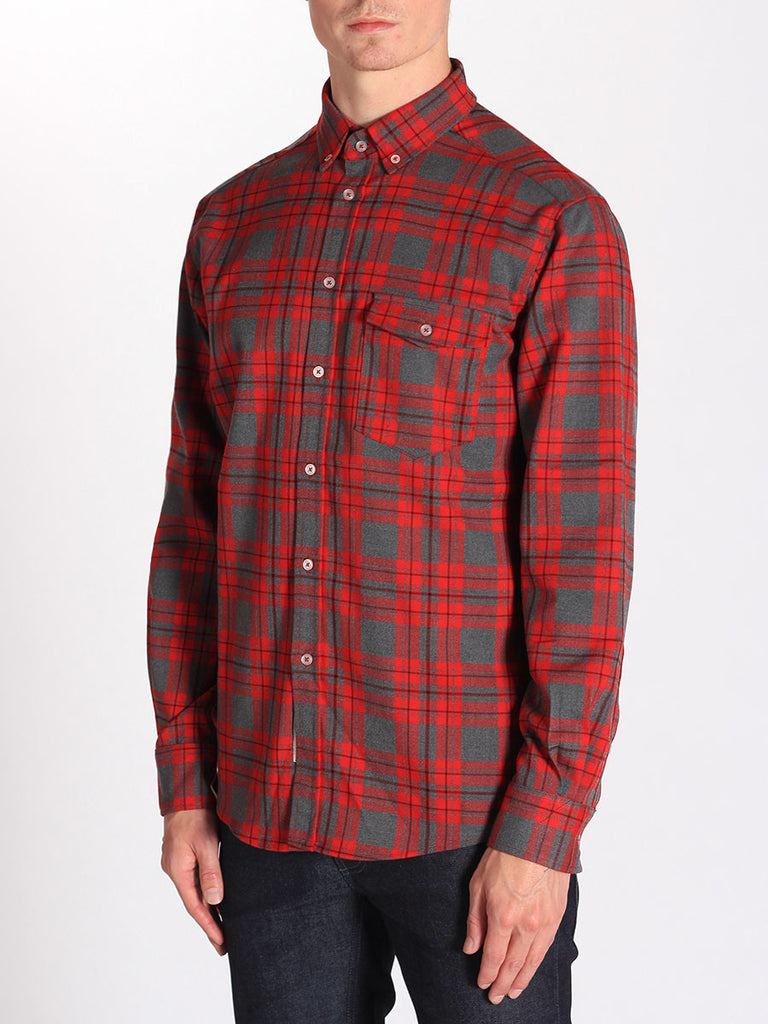 Casual Mens Fashion and West Coast Style Workshop Medium Weight Oxford Button Down Shirt in Red and Grey Plaid Side