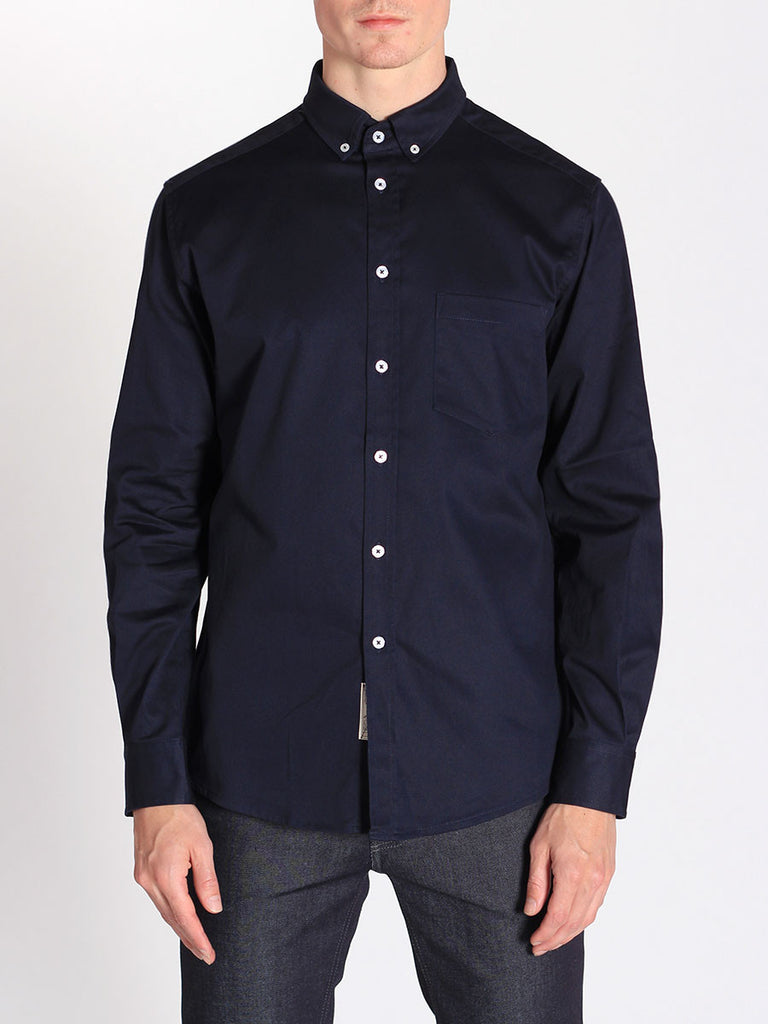 WORKSHOP MEDIUM WEIGHT OXFORD BUTTON DOWN SHIRT IN NAVY