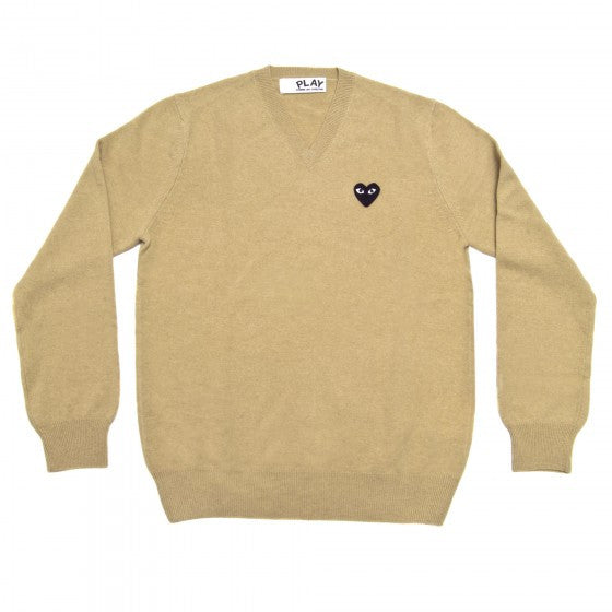 COMME DES GARCONS PLAY V-NECK SWEATER IN BEIGE WITH BLACK HEART WITH EYES PATCH