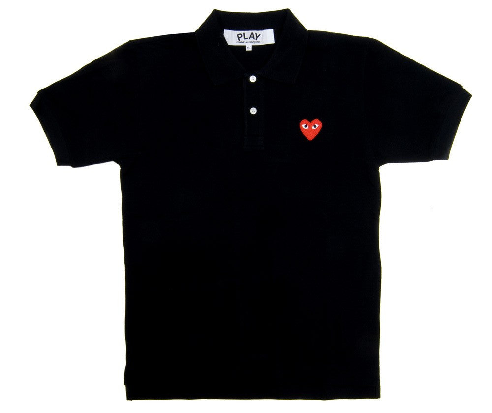 COMME DES GARCONS PLAY PIQUE POLO IN BLACK WITH RED HEART WITH EYES PATCH