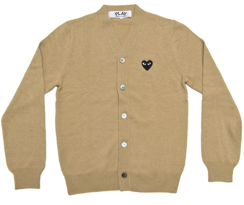 COMME DES GARCONS PLAY CARDIGAN IN BEIGE WITH BLACK HEART