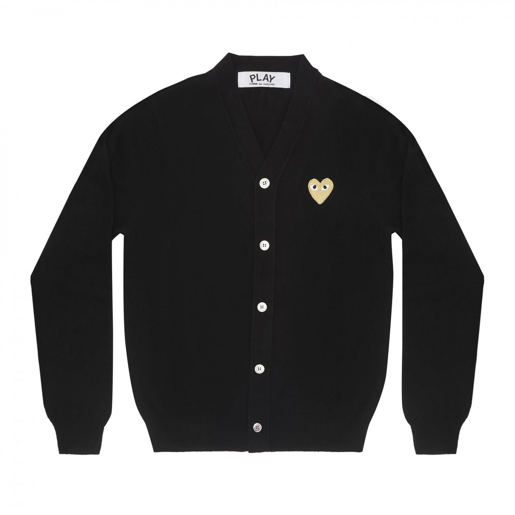 COMME DES GARCONS PLAY CARDIGAN IN BLACK WITH GOLD HEART