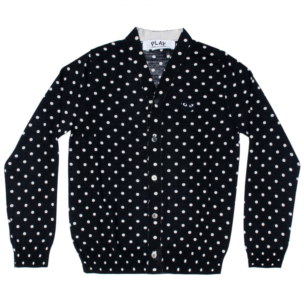 COMME DES GARCONS PLAY CARDIGAN IN BLACK POLKA DOT WITH BLACK HEART