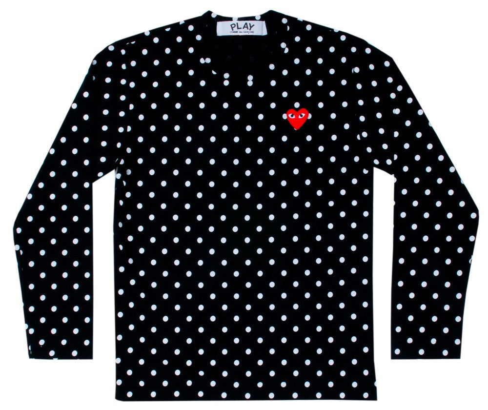 COMME DES GARCONS PLAY LONG-SLEEVE T-SHIRT IN BLACK WITH WHITE DOTS AND RED HEART PATCH
