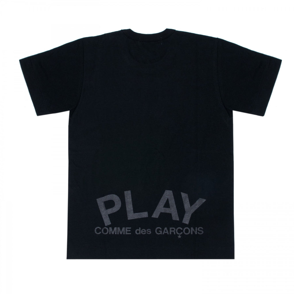 COMME DES GARCONS PLAY T-SHIRT IN BLACK WITH DOUBLE-SIDED BLACK HEARTS AND PLAY LOGO PRINT  - 2