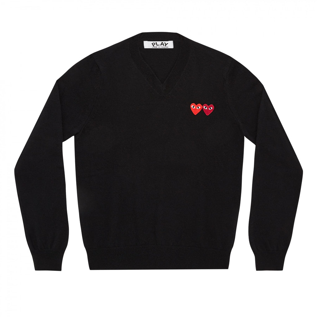 COMME DES GARCONS PLAY V-NECK SWEATER IN BLACK WITH DOUBLE HEART WITH EYES PATCHES