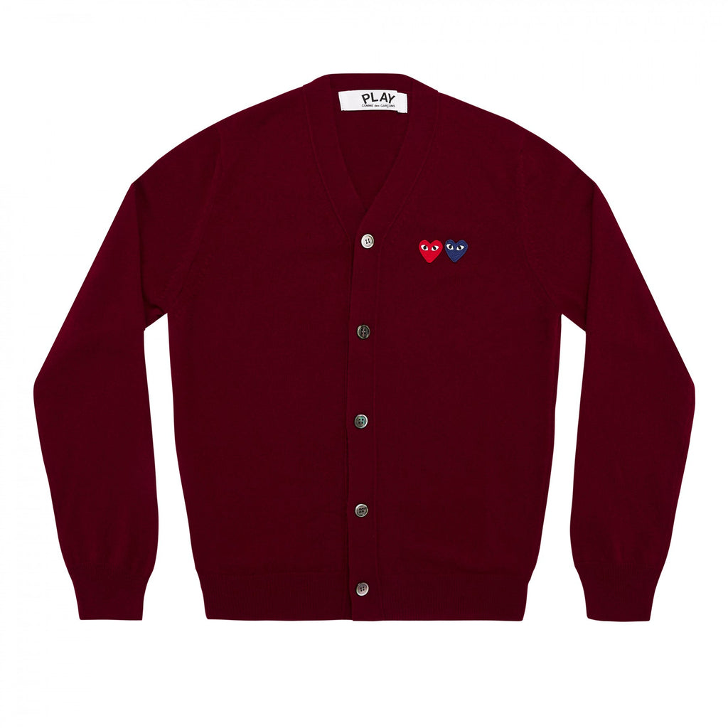 COMME DES GARCONS PLAY CARDIGAN IN BURGUNDY WITH DOUBLE HEART WITH EYES PATCHES