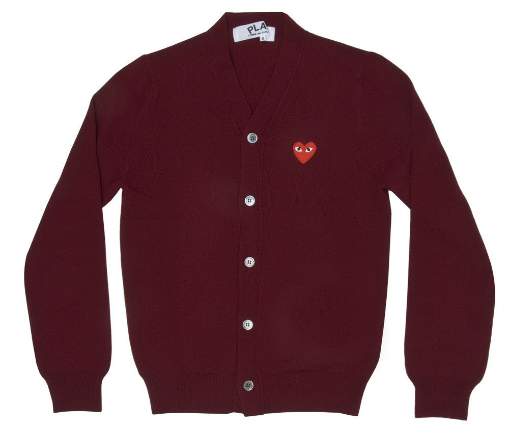 COMME DES GARCONS PLAY CARDIGAN IN BURGUNDY WITH RED HEART WITH EYES PATCH