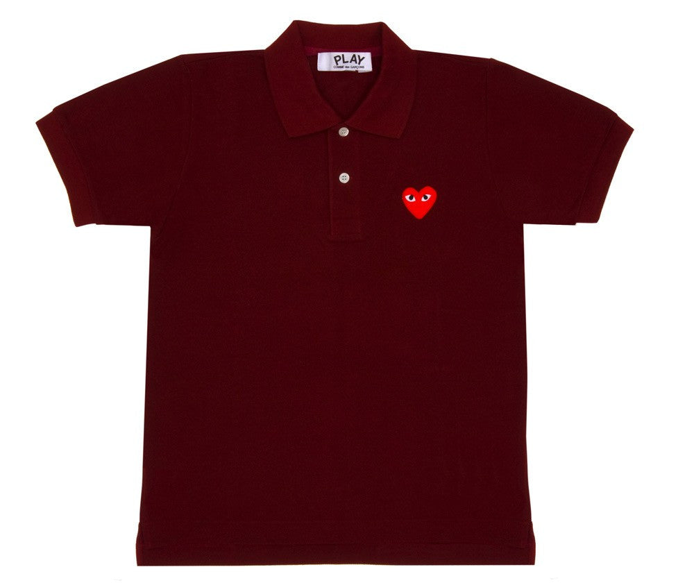 COMME DES GARCONS PLAY PIQUE POLO IN BURGUNDY WITH RED HEART WITH EYES PATCH