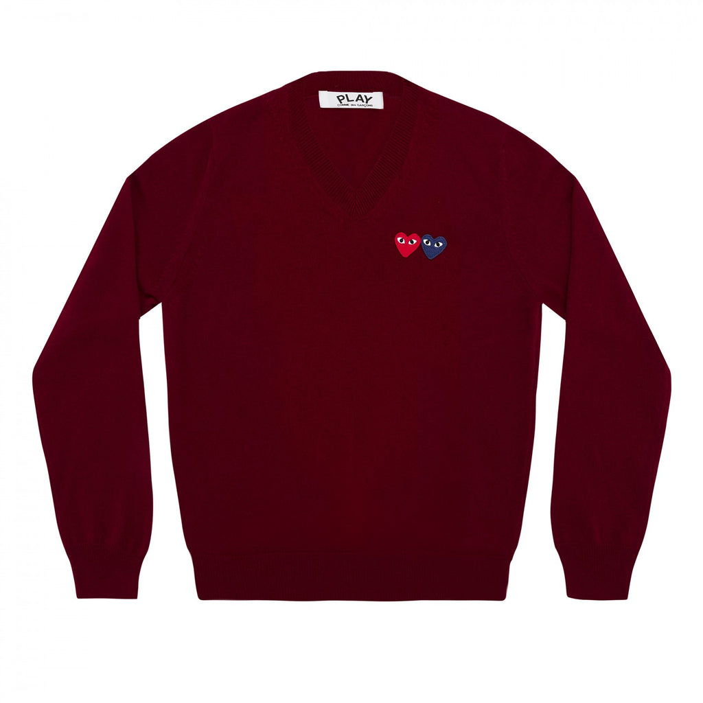 COMME DES GARCONS PLAY V-NECK SWEATER IN BURGUNDY WITH DOUBLE HEART WITH EYES PATCHES