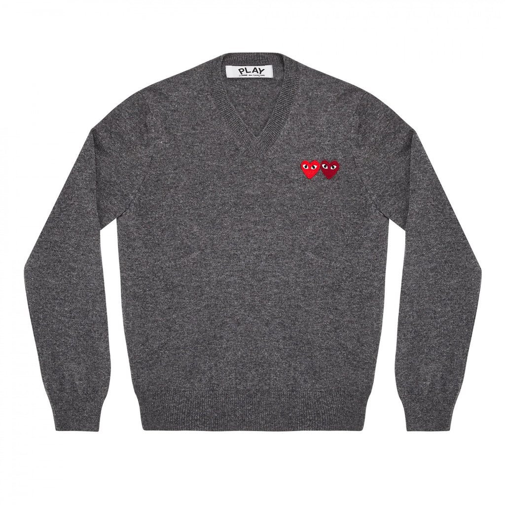 COMME DES GARCONS PLAY V-NECK SWEATER IN GREY WITH DOUBLE HEART WITH EYES PATCHES