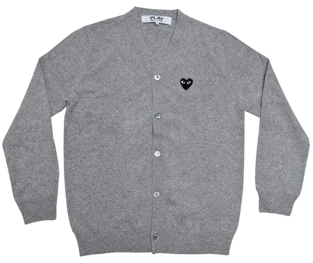 COMME DES GARCONS PLAY CARDIGAN IN LIGHT GREY WITH BLACK HEART