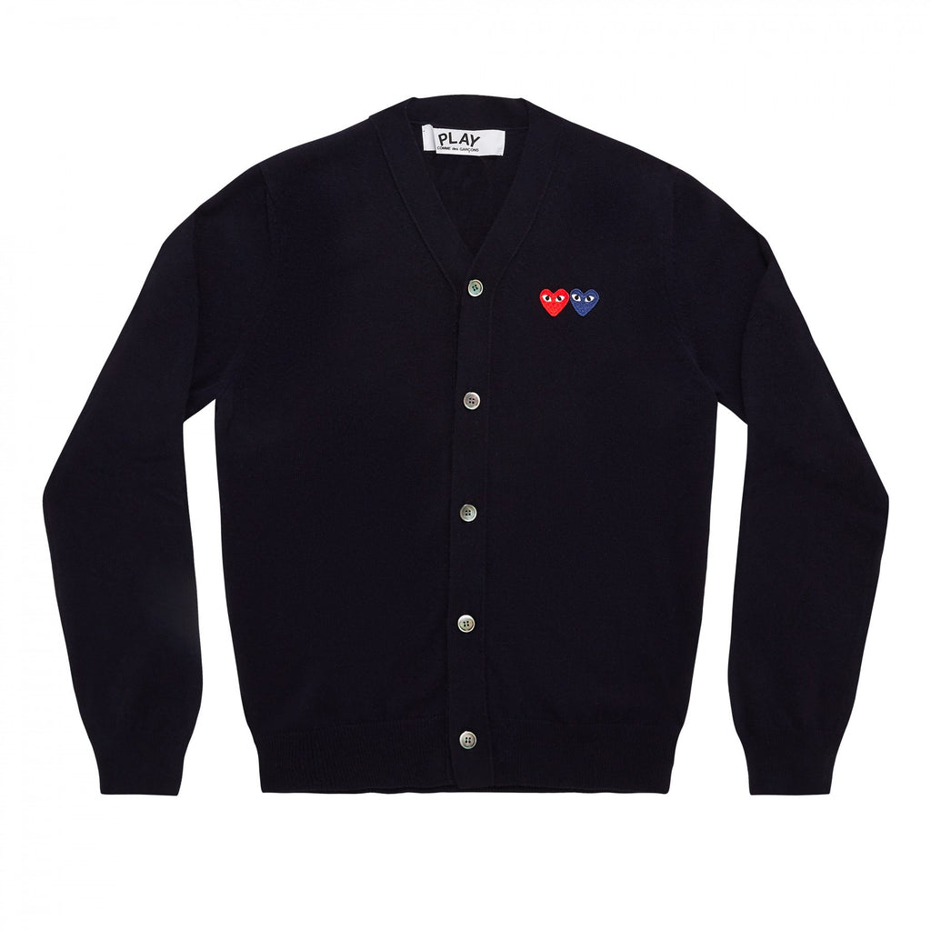 COMME DES GARCONS PLAY CARDIGAN IN NAVY WITH DOUBLE HEART WITH EYES PATCHES
