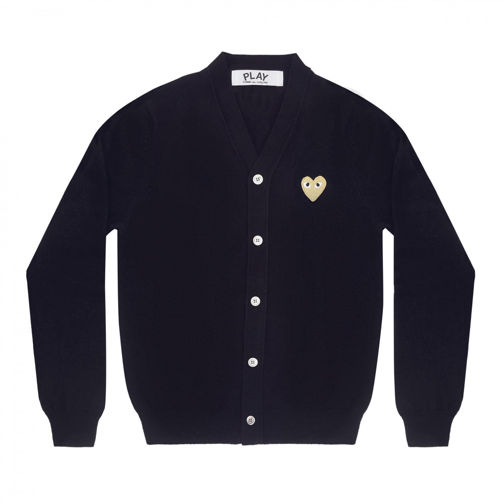 COMME DES GARCONS PLAY CARDIGAN IN NAVY WITH GOLD HEART